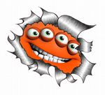 Ripped Torn Metal Design With Funny Orange Monster Motif External Vinyl Car Sticker 105x130mm